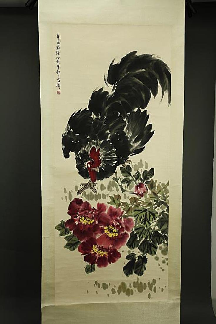 CHINESE SCROLL PAINTING OF A ROOSTER AND PEONIES