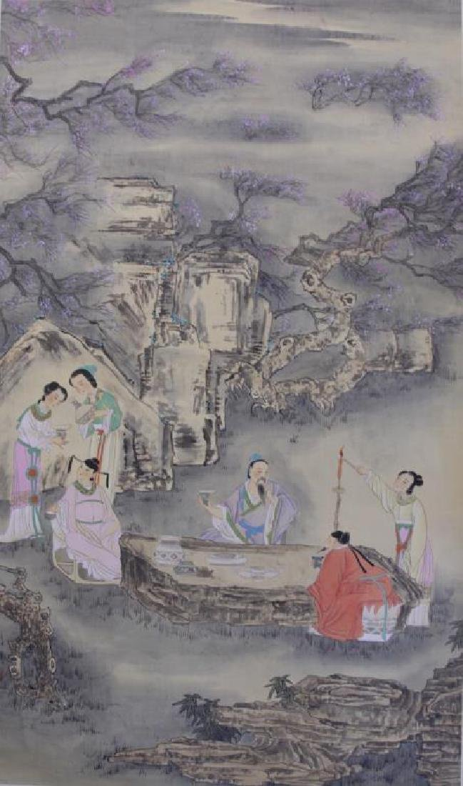 CHINESE SCROLL PAINTING OF SCHOLARS DRINKING