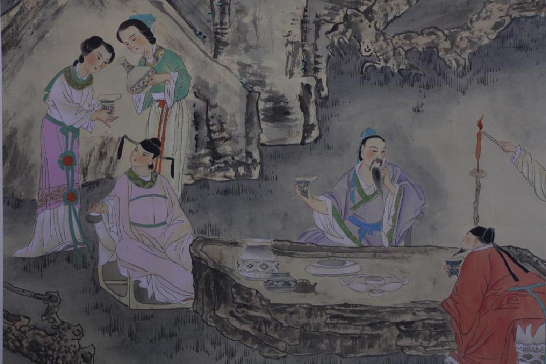 CHINESE SCROLL PAINTING OF SCHOLARS DRINKING - 2