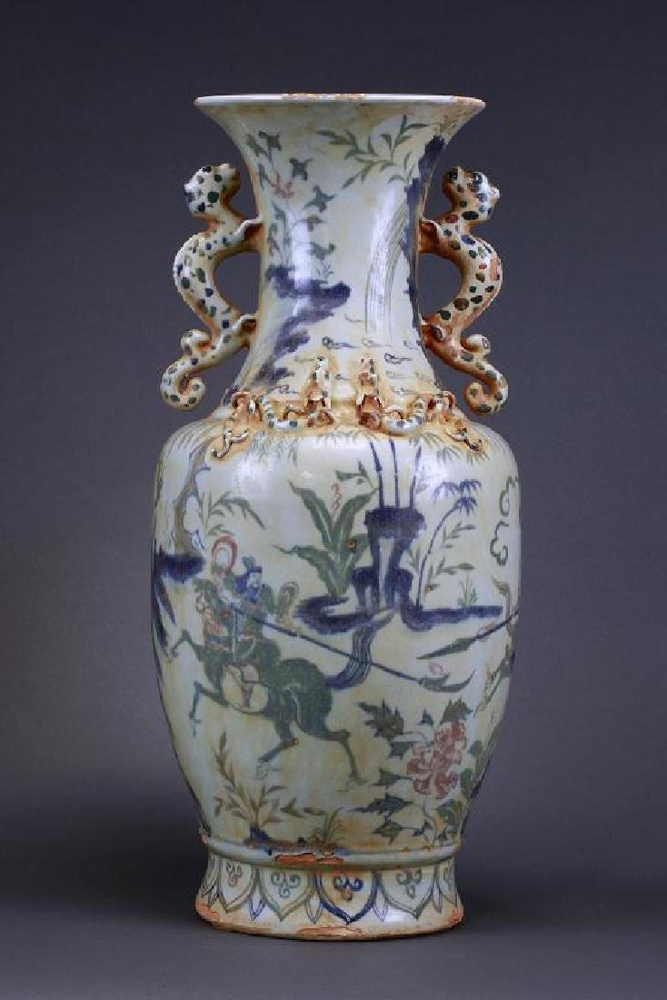 CHINESE BLUE AND WHITE DOUBLE DRAGON VASE - 4