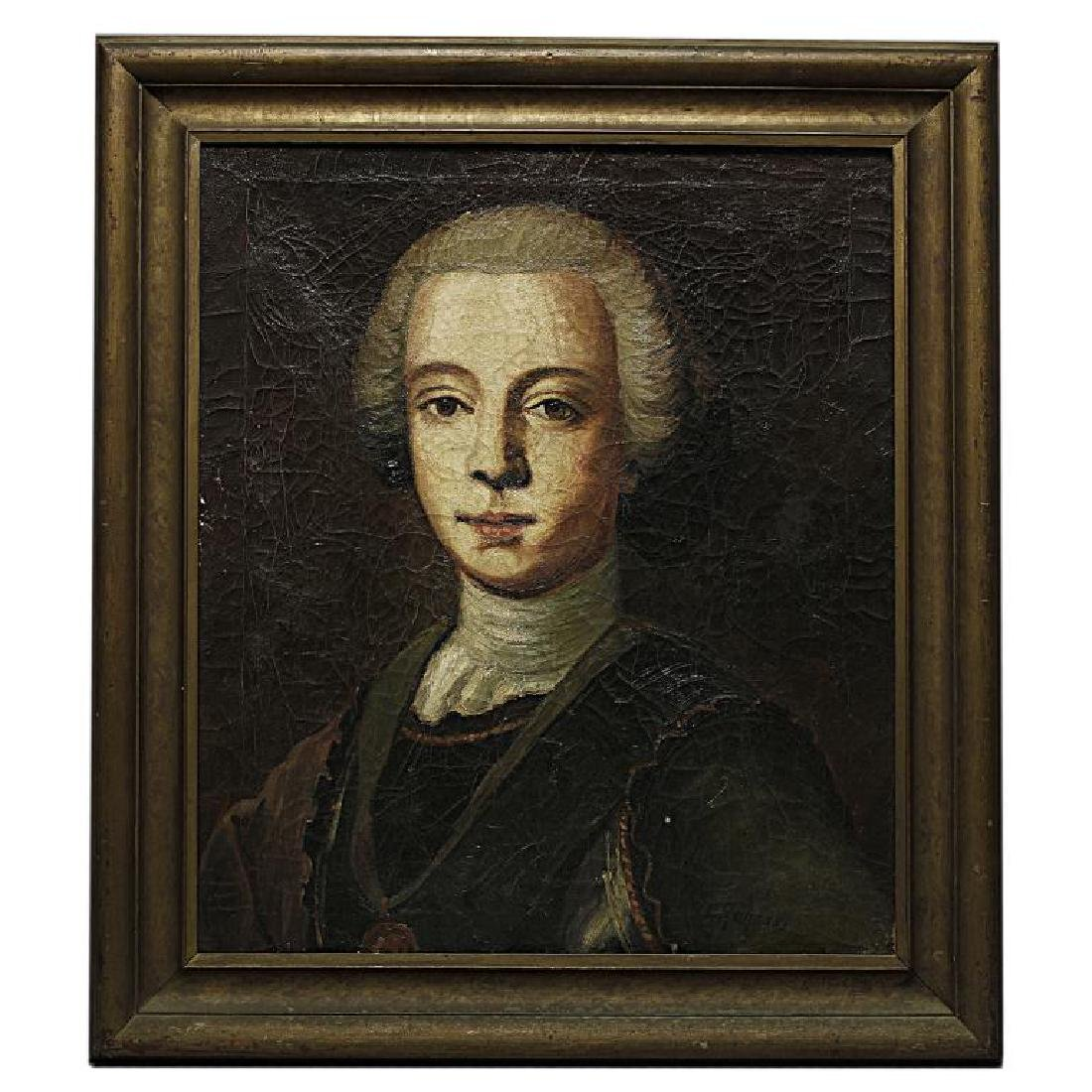 FRAMED PORTRAIT PAINTING OF A YOUNG EUROPEAN MAN