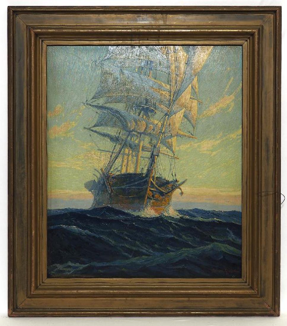 FRAMED OIL ON CANVAS PAINTING OF A SHIP AT SEA
