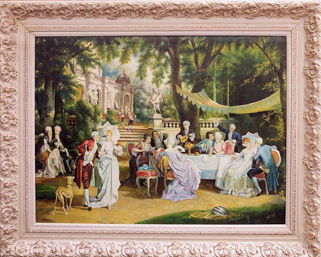 FRAMED 20TH C. OIL PAINTING OF A GROUP LUNCHEON