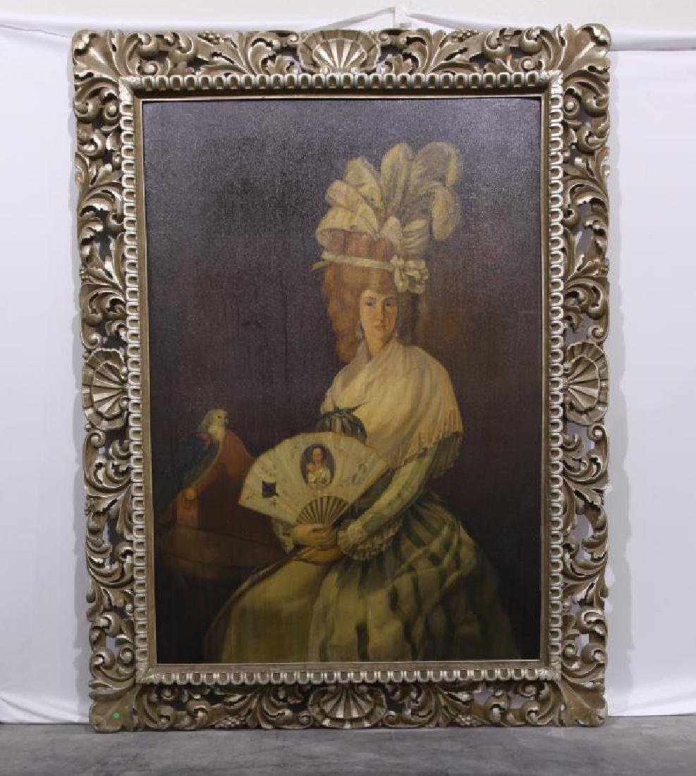 MASSIVE FRAMED OIL ON BOARD PAINTING OF A BEAUTY