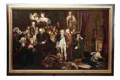 LARGE 19TH CENTURY OIL PAINTING ON CANVAS