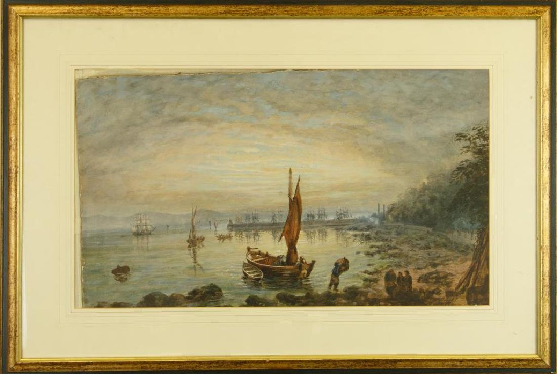 FRAMED ANTIQUE WATERCOLOR PAINTING OF A LAKE SCENE