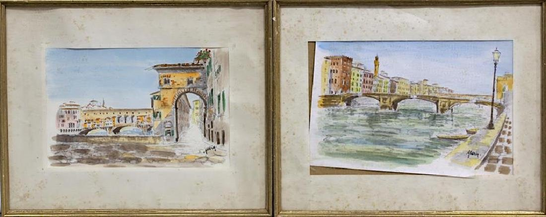 PAIR OF FRAMED WATERCOLOR PAINTINGS OF CITY