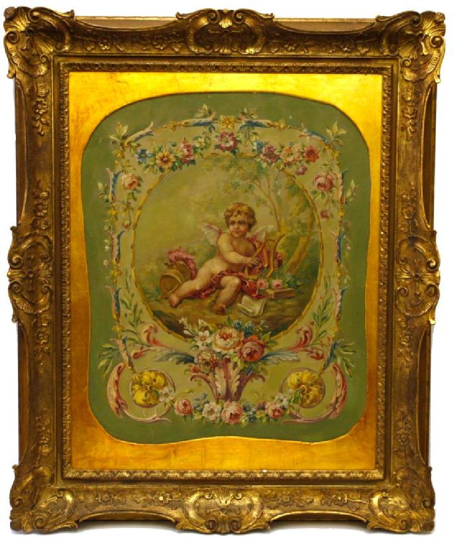 19TH C. LARGE FRAMED OIL PAINTING OF A CHERUB