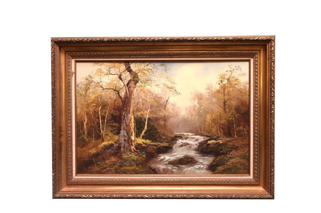 OIL ON CANVAS PAINTING OF CREEK