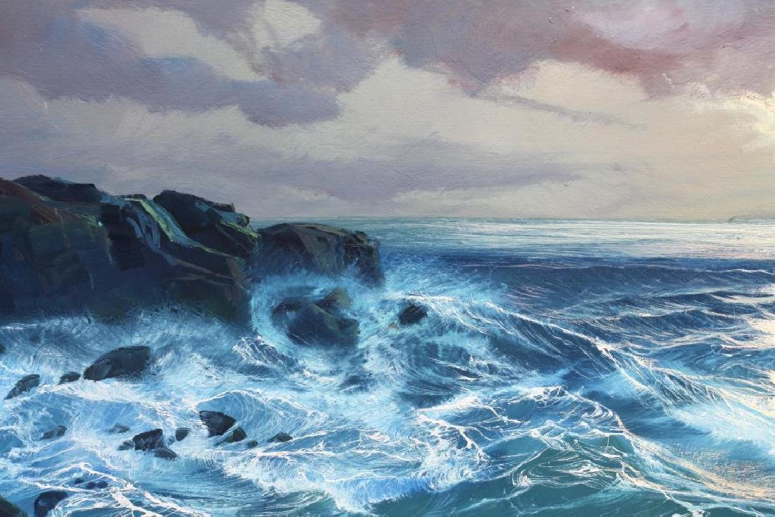 OIL ON CANVAS PAINTING OF SEA WAVES
