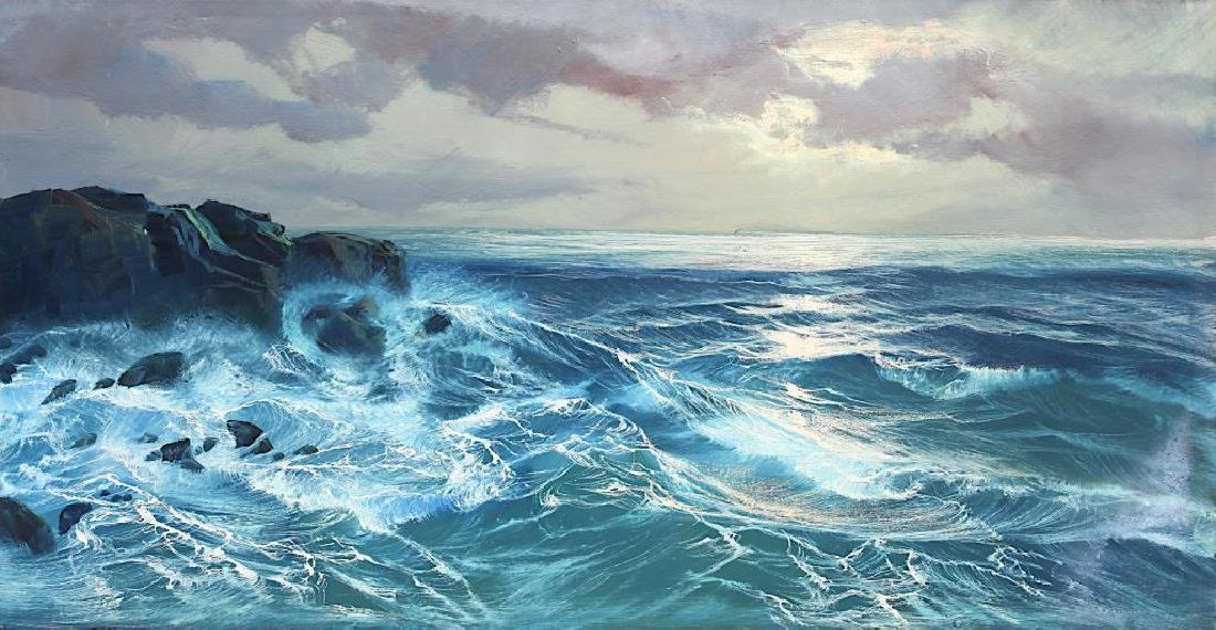 OIL ON CANVAS PAINTING OF SEA WAVES - 2