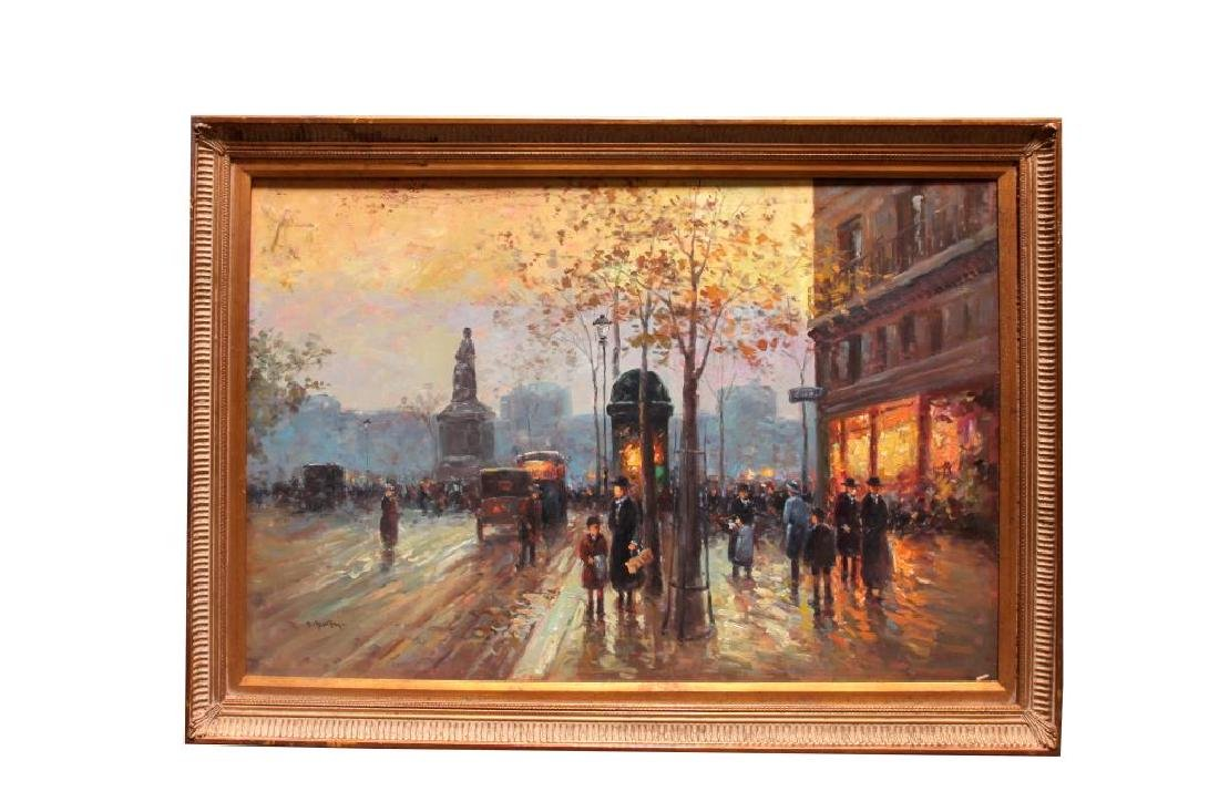 FRAMED OIL ON CANVAS PAINTING OF A CITY SCENE