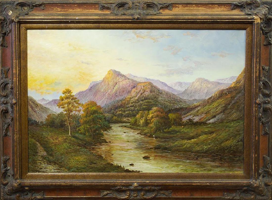FRAMED OIL ON CANVAS PAINTING OF A VALLEY