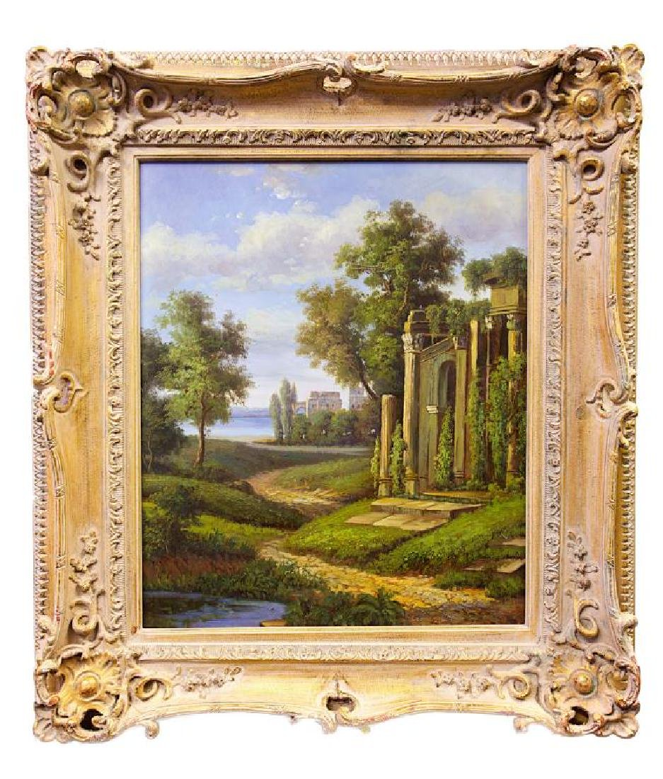 OIL ON CANVAS PAINTING OF A LANDSCAPE SCENE