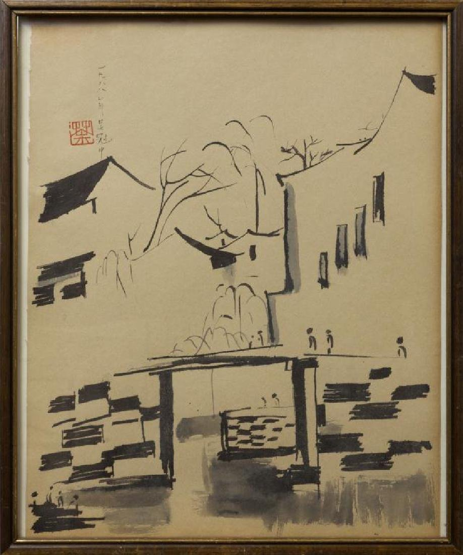 CHINESE FRAMED PAINTING OF A TOWN