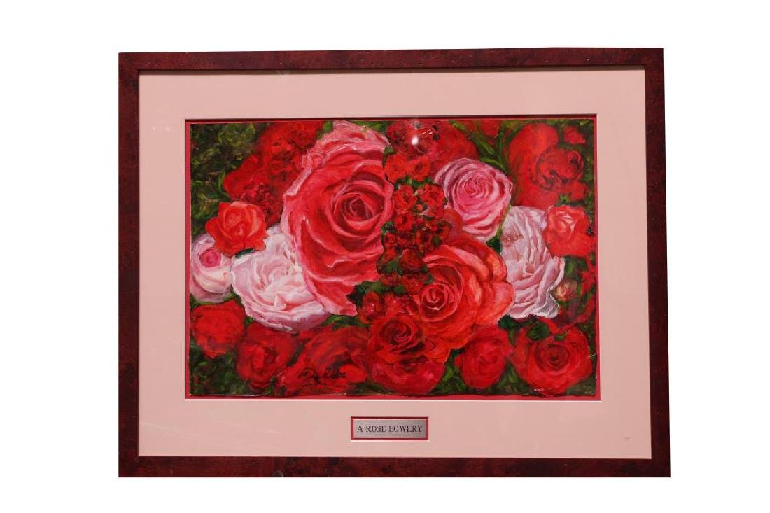 "OIL PAINTING OF "" A ROSE BOWERY"""