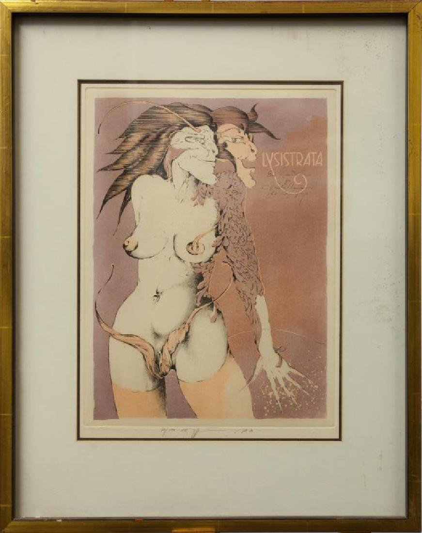 FRAMED LITHOGRAPH OF A NUDE WOMAN