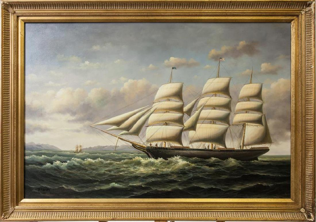 OIL ON CANVAS PAINTING OF A SHIP AT SEA