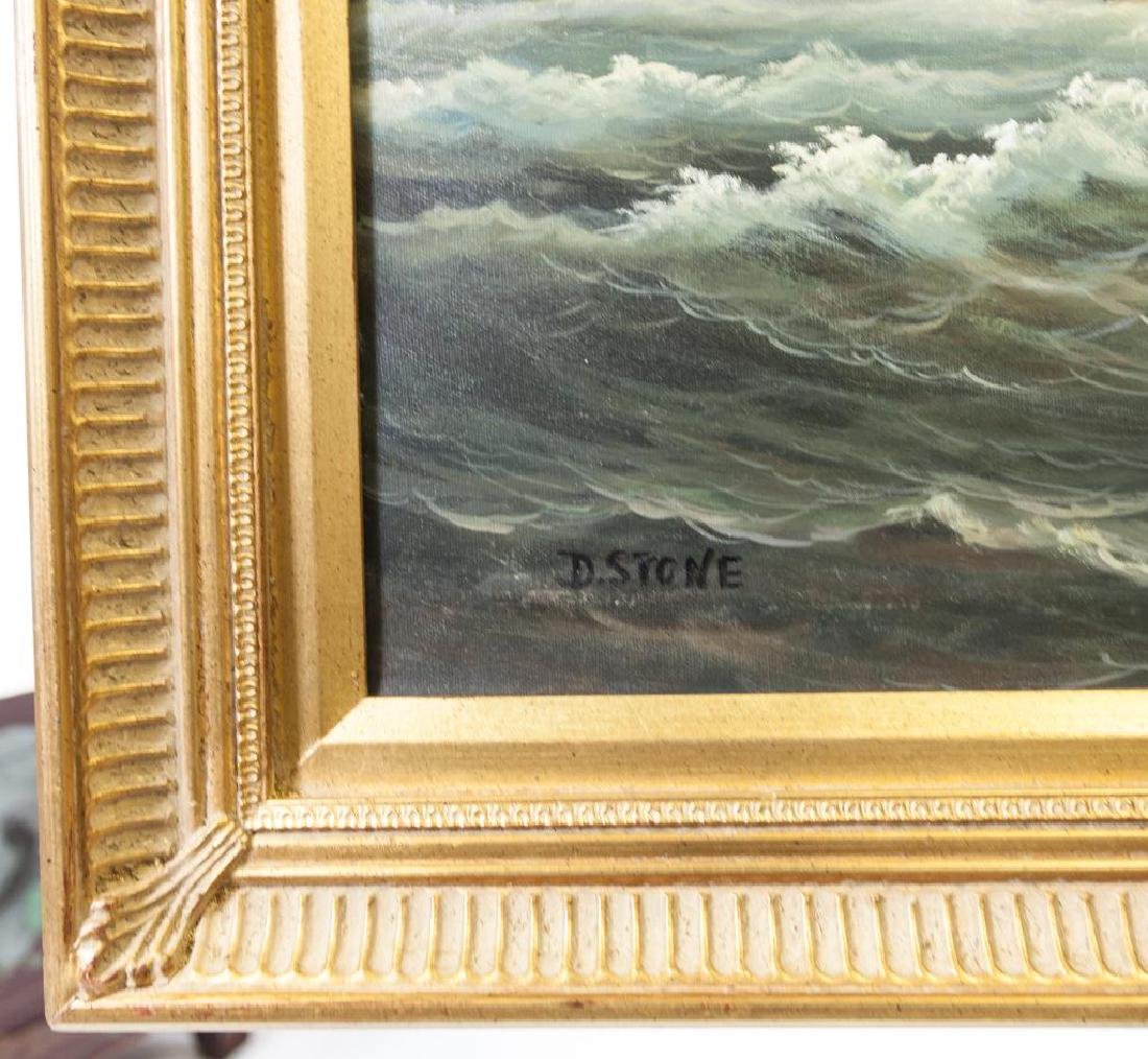 OIL ON CANVAS PAINTING OF A SHIP AT SEA - 2