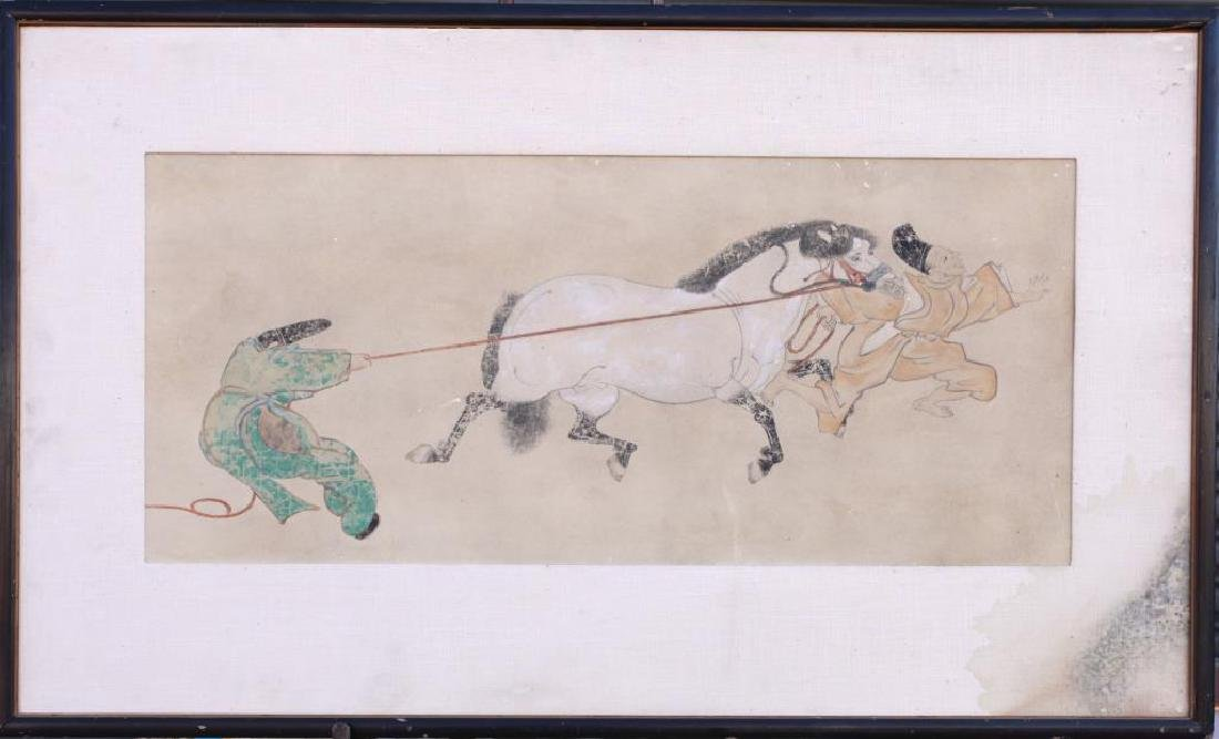 FRAMED PAINTING OF TWO MEN HOLDING A HORSE