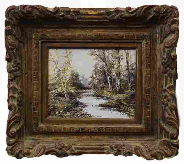 FRAMED OIL PAINTING ON BOARD OF AUTUMN LANDSCAPE