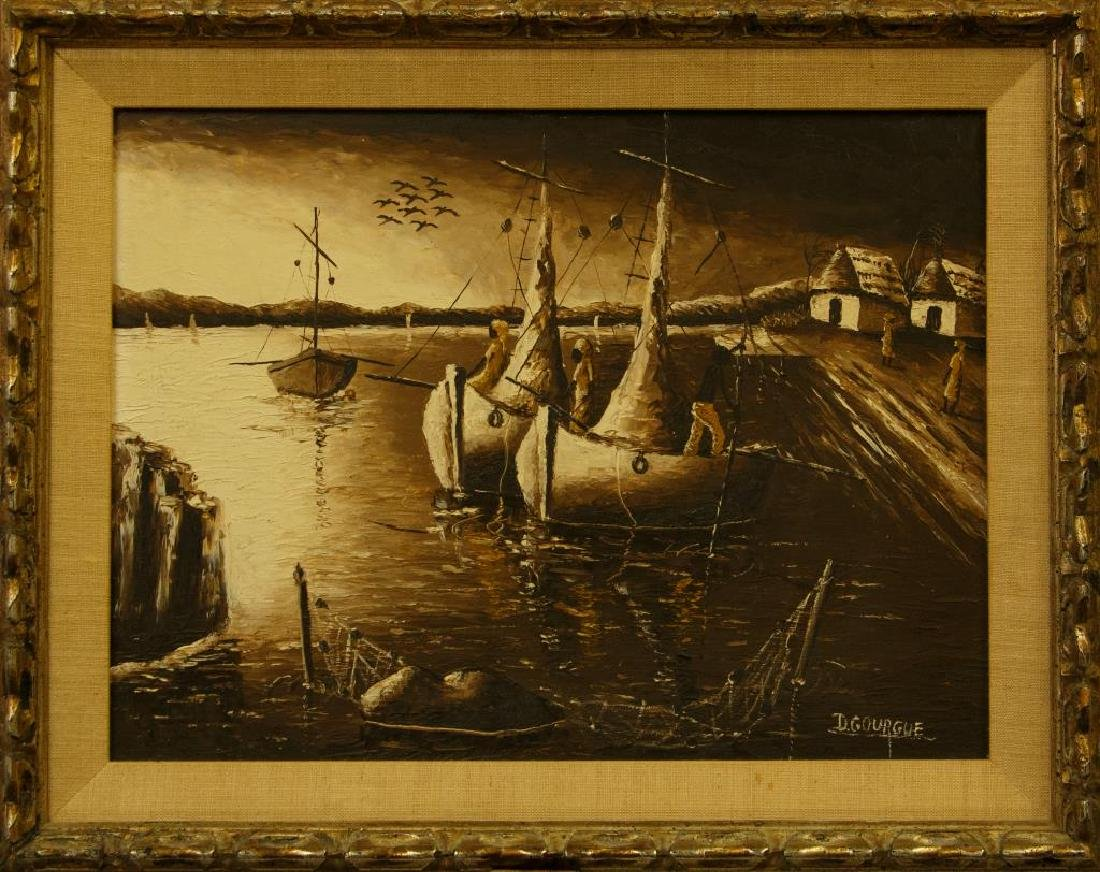 FRAMED OIL PAINTING OF A DARK HARBOR SCENE