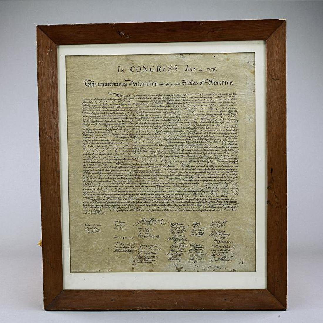 FRAMED PRINT OF THE DECLARATION OF INDEPENDENCE