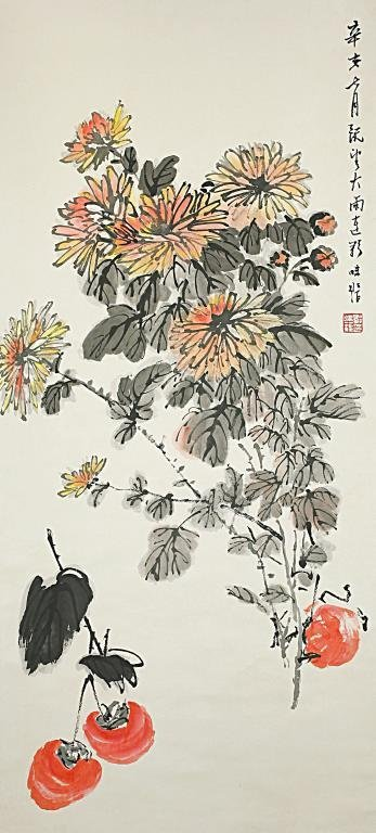 CHINESE SCROLL PAINTING OF FLOWERS AND PERSIMMONS