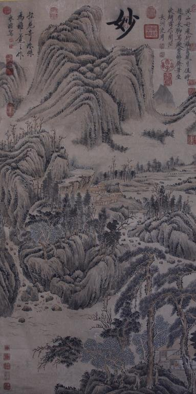 CHINESE SCROLL PAINTING OF LANDSCAPE WITH DWELLING