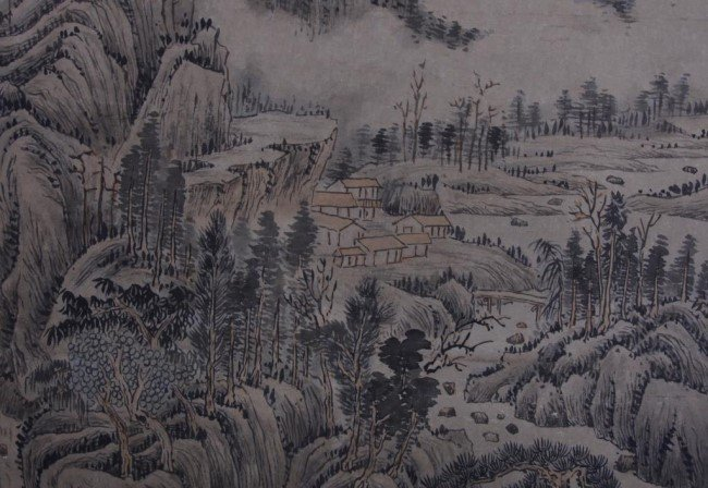 CHINESE SCROLL PAINTING OF LANDSCAPE WITH DWELLING - 4