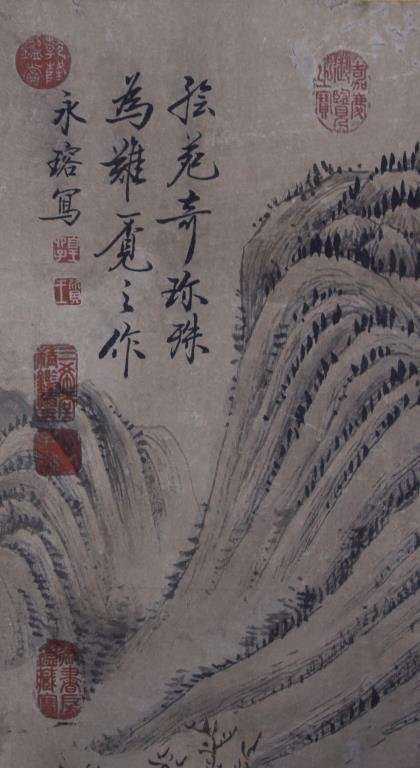 CHINESE SCROLL PAINTING OF LANDSCAPE WITH DWELLING - 5