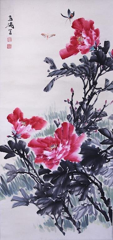 CHINESE SCROLL PAINTING OF PEONIES