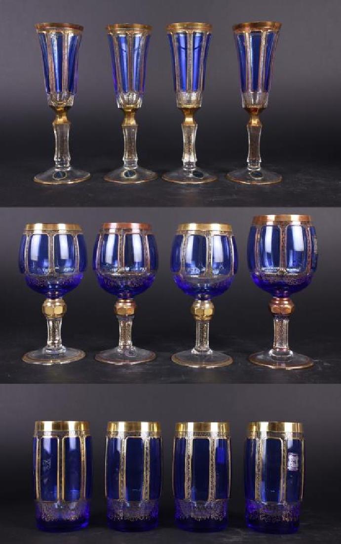 12 BOHEMIAN GLASS CHAMPAGNE FLUTES