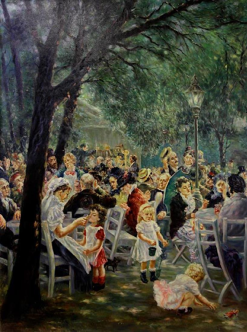 OIL PAINTING ON CANVAS OF OUTDOOR GATHERING