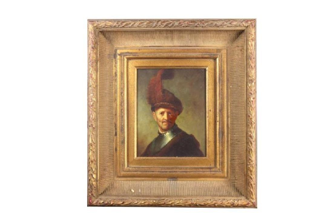 GILT FRAMED OIL ON CANVAS PAINTING OF A MAN