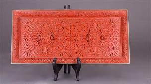 CHINESE HAND CARVED RED LACQUER TRAY