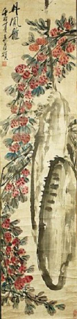 CHINESE SCROLL PAINTING OF LYCHEE
