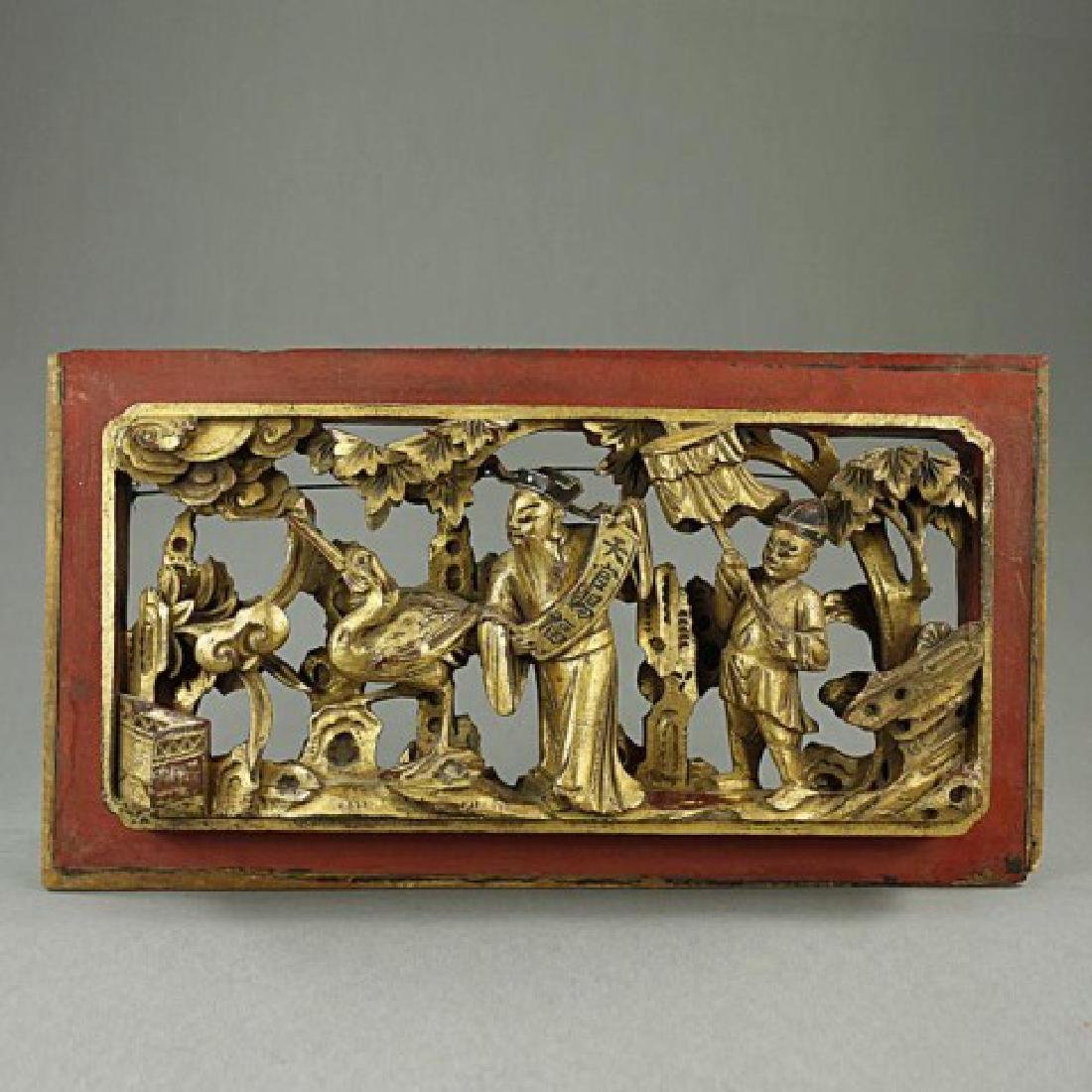 Chinese Gilded Carved Wood Wall Hanger