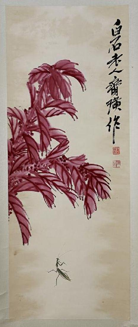CHINESE SCROLL PAINTING OF A PRAYING MANTIS
