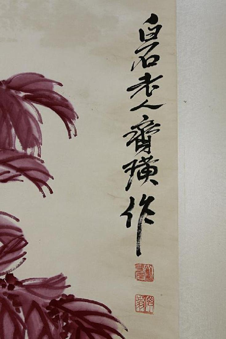CHINESE SCROLL PAINTING OF A PRAYING MANTIS - 2
