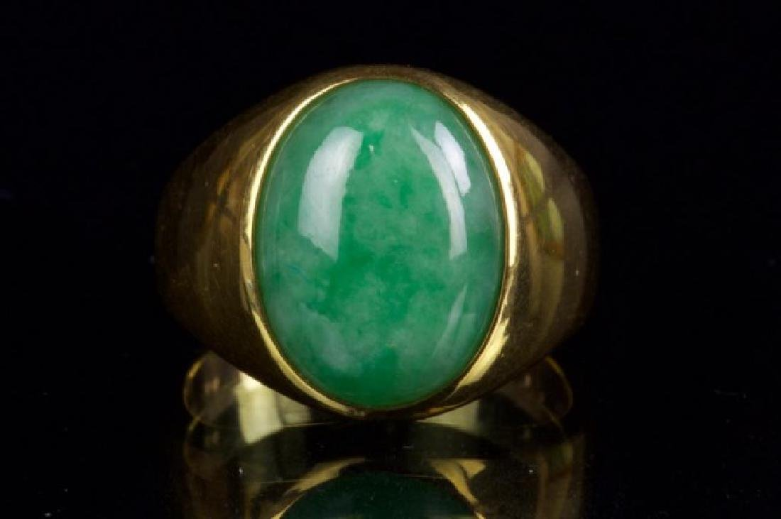 18K GOLD RING WITH BURMESE JADE