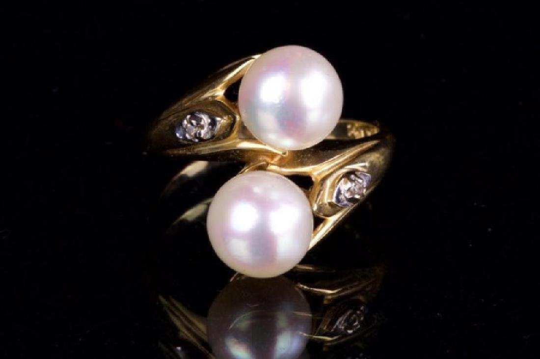 14K GOLD RING WITH TWO PEARLS