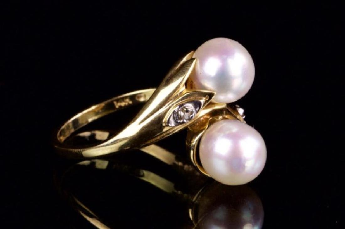 14K GOLD RING WITH TWO PEARLS - 2