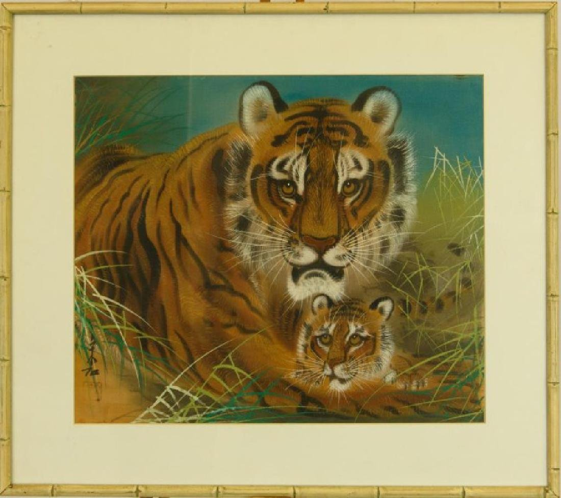 FRAMED CHINESE PAINTING OF TWO TIGERS