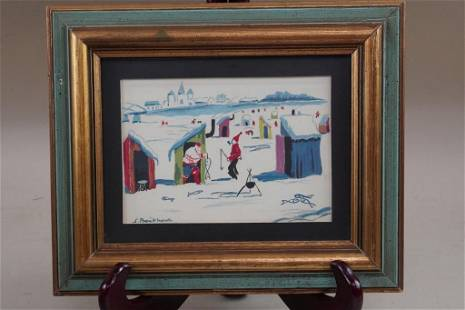 CANADIAN WATERCOLOR PAINTING OF ICE FISHING