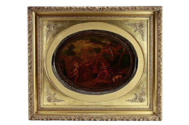 LARGE HAND-PAINTED OIL PAINTING ON COPPER TRAY