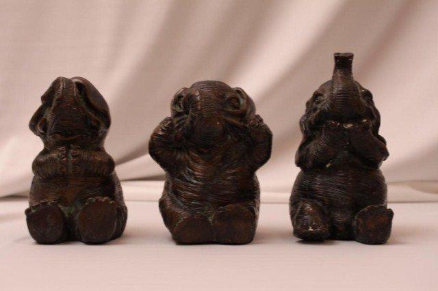 THREE BRONZE ELEPHANTS