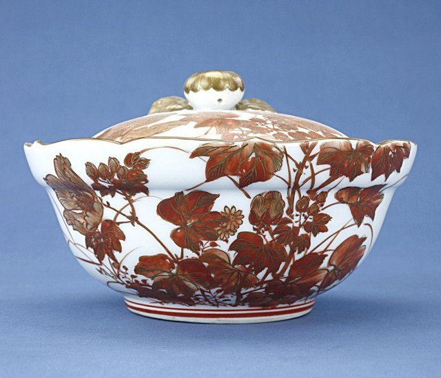 JAPANESE PEACH BON BON DISH AND COVER WITH FINIAL