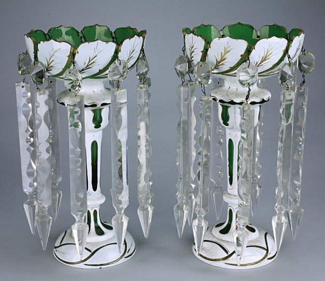 PAIR OF BOHEMIAN OVERLAY GREEN GLASS LUSTERS