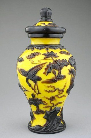 CHINESE BROWN AND YELLOW PEKING GLASS LIDDED JAR